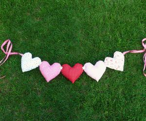 bunting, heart, and pink image