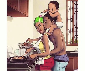 black, food, and family image