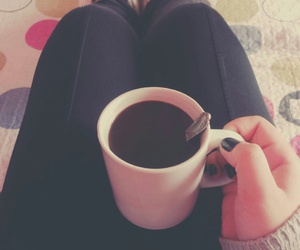 black nails, hot chocolate, and cozy clothing image