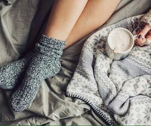 winter, socks, and coffee image