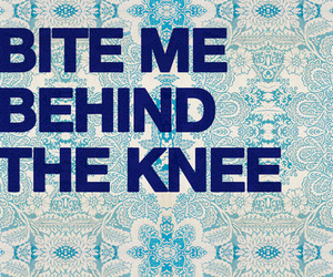 bite, knee, and text image