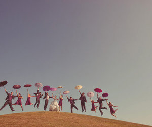 wedding, umbrella, and jump image