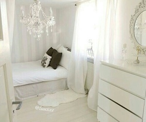 bedroom, white, and girl image