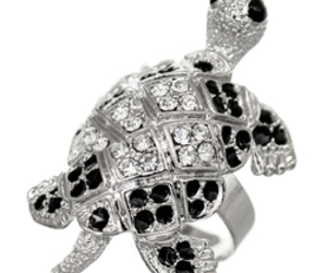 gold ring, turtle ring, and rhinestone ring image