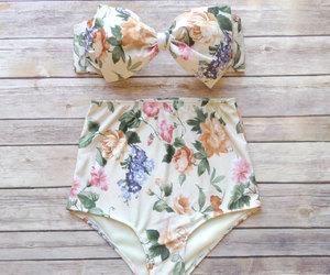 bikini, floral, and vintage image