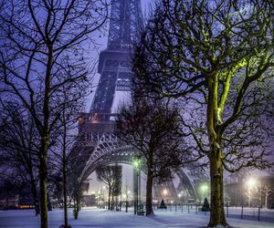 paris, winter, and eiffel tower image