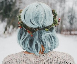 hair, blue, and winter image