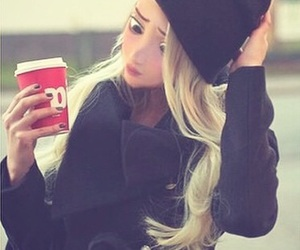 blonde, coffee, and hair image