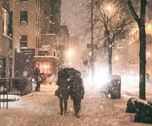 snow, winter, and couple image
