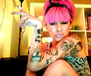 pink hair, sexy, and tattoo image