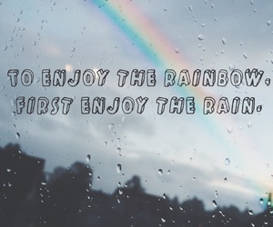 joy, rain, and rainbow image