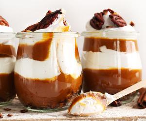 cream, dessert, and caramel image