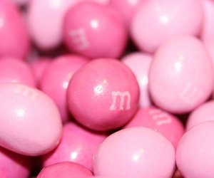 pink, m&m's, and chocolate image