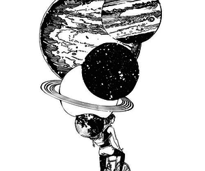 planet, bike, and space image