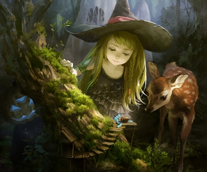 witch, anime, and deer image