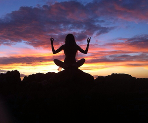 girl, sunset, and yoga image