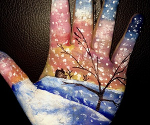 acrylic paint, art, and hand art image