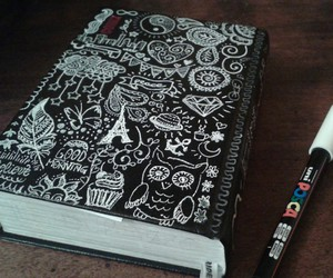 black and white, diary, and drawing image