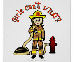 female, firefighter, and proud image