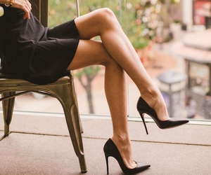 dress, heels, and shoes image