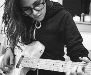 kristen stewart, guitar, and black and white image