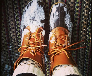 winter, boots, and snow image