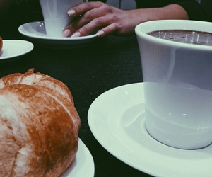 croissant, hot chocolate, and eat image