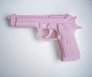 pink, gun, and grunge image