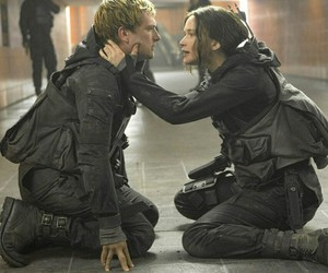 the hunger games, katniss, and peeta image