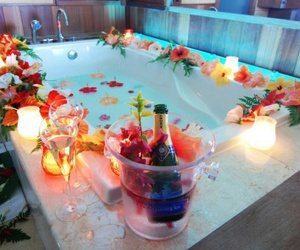 flowers, bath, and romantic image