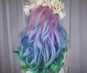 hair, flowers, and rainbow image