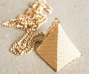 gold, pyramid, and necklace image
