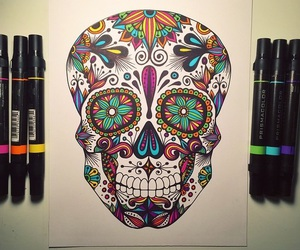 art, skull, and day of the dead image