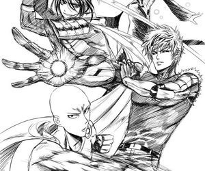 anime, monochrome, and one punch man image