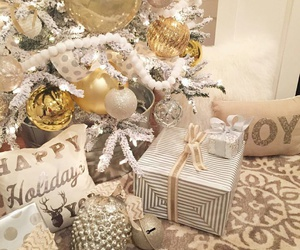 christmas pillows, gold ornaments, and glitter ornaments image