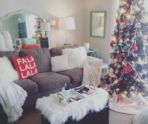 christmas tree, white blankets, and christmas decorations image