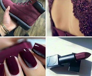 maroon, burgundy nails, and burgundy lipstick image