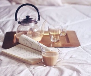 bed, books, and milk image