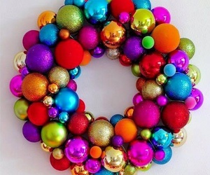 christmas, colourful, and wreath image
