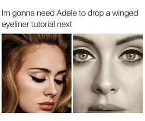 Adele, funny, and eyeliner image