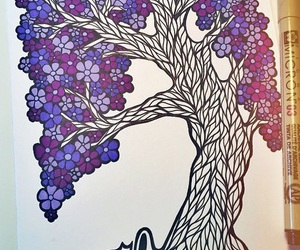 drawing, purple, and tree image