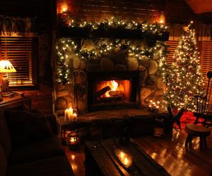 christmas, christmas tree, and fireplace image