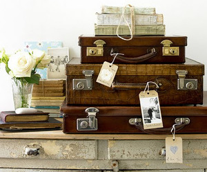 vintage, suitcase, and flowers image