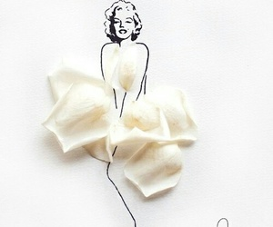 art, Marilyn Monroe, and flowers image