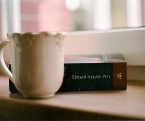 book, edgar allan poe, and tea image
