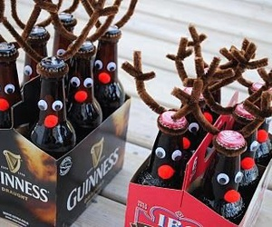 christmas, beer, and reindeer image