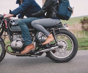 couple, motorcycle, and road image