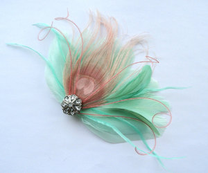 coral, etsy, and fascinator image