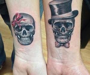 tattoo, skull, and couple image