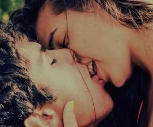 boy and girl and kiss image